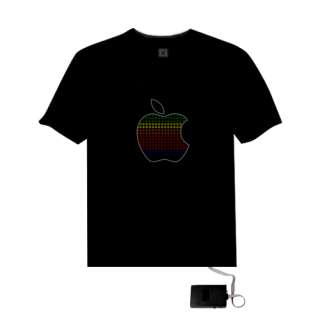 Sound Activated Apple Shape LED Light EL Music T Shirt