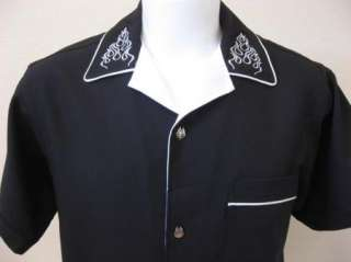 Retro FLAMES Rock & Roll REBEL Black Hipster Bowling Shirt S