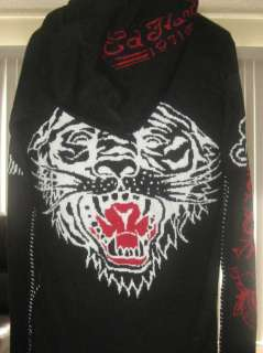 AWESOME ED HARDY CHRISTIAN AUDIGIER TIGER ZIP UP SWEATER HOODIE HOODY