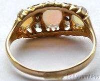 LADIES 18K YELLOW GOLD VICTORIAN OPAL DIAMOND RING SZ 8