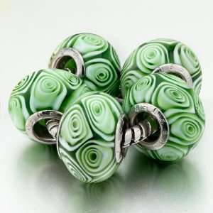 Circle Rose Pattern Murano Glass Beads Fit Pandora Charms (include