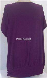 New American City Wear Womens Plus Size Clothing Purple Shirt Top