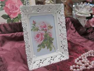 WHITE LACY METAL VINTAGE FRAME with ROSE PICTURE~Shabby~Cottage~Chic