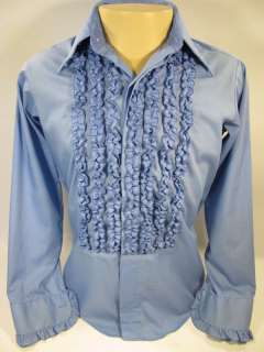 Vtg LION OF TROY TUXEDO shirt RUFFLE men 15 1/2   32
