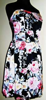 NEW GUESS HELGA JET BLACK MULTI FLORAL PRINT DRESS L