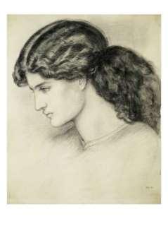 Portrait Sketch of a Ladies Head by Dante Gabriel Rossetti Giclee