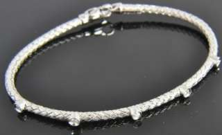 RCI 14K White Gold Diamond Station Basketweave Woven Chain Bangle