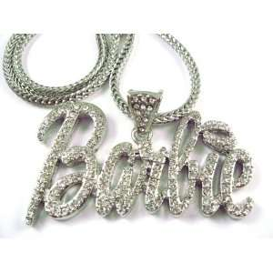 NEW NICKI MINAJ BARBIE Pendant w/Franco Chain Silver LG