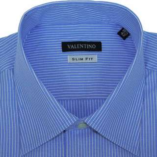 BLUE WHITE STRIPED MENS DRESS SHIRT ITALIAN COLLAR SLIM FIT