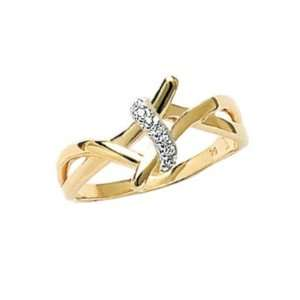 18K Gold Plated Clear Cubic Zirconia 10 mm Wide Lace Knot Band Ring