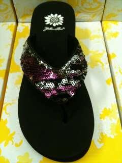 Wedge Flip Flop Sunset Purple Black Silver Multi Color Sequins