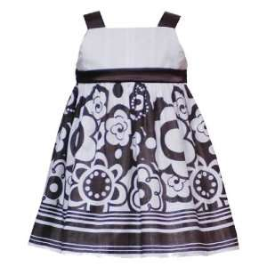 FLORAL STRIPE BORDER Special Occasion Wedding Flower Girl Party Dress