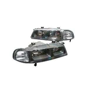 Euro Headlights Black W / Clear corner 92 96 Honda Prelude