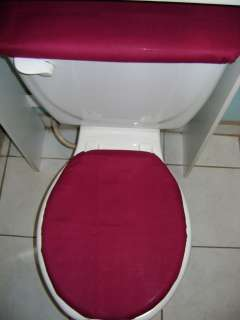 SOLID BURGUNDY Toilet Seat Lid & Tank Cover Set
