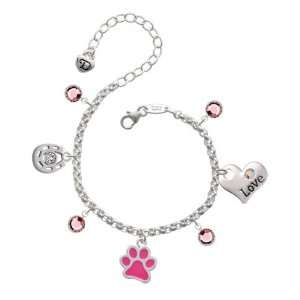 Hot Pink Paw Love & Luck Charm Bracelet with Light Rose Sw Jewelry