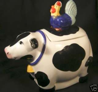 Collectible COW w/CHICKEN LID Ceramic COOKIE JAR Fun!