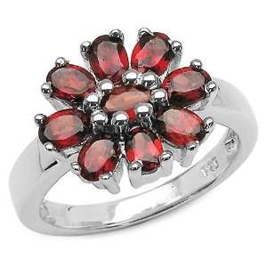 2.35 Carat Genuine Garnet Sterling Silver Ring Jewelry