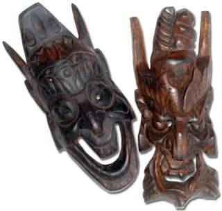 2Piece Collectible Wall Decor Art Hand Carved Wooden Oriental Warrior