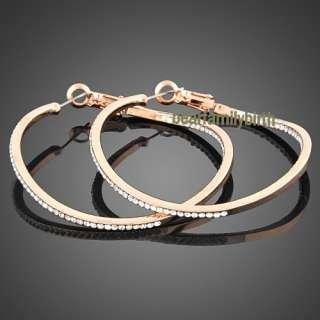 Elegant Swarovski crystal 18k Gold Gp Big earrings E35