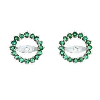 14KT WHITE GOLD   0.63CTW EMERALD ROUND EARRINGS JACKET