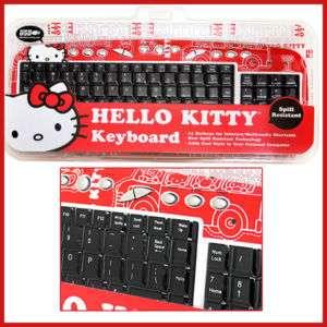 Sanrio Hello Kitty Computer USB Key Board  Red Original