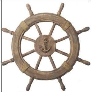 Antique Finish Wooden Ship Wheel