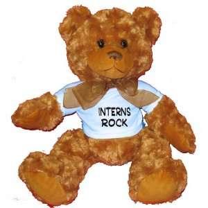 Interns Rock Plush Teddy Bear with BLUE T Shirt Toys & Games