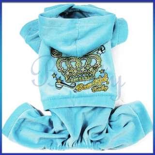 Pet Dog Doggie Sports Jumpsuit Coat Velour Clothes Autumn Crown