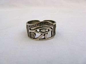 Egyptian Sterling Silver Eye Of Horus W/Ankh Ring