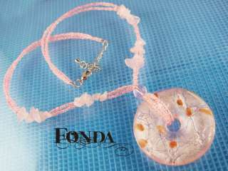 A748 Murano pendant Necklace pink silver foil round