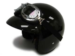 BLACK CAFE RACER OPEN FACE MOTORCYCLE HELMET+GOGGLES XL