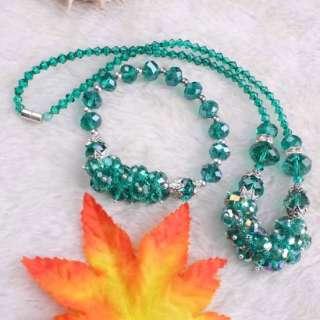 Crystal Glass Faceted Bead Bracelet Necklace Set