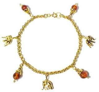 Accented Gold Plated Sterling Silver Elephant Charm Bracelet 8 1/2