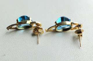 14 K SOLID GOLD BLUE TOPAZ & DIAMOND STONE STUD EARRING