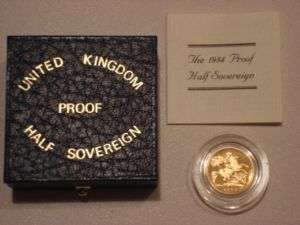 1984 GOLD PROOF SOLID 22K HALF SOVEREIGN COIN BOX & COA