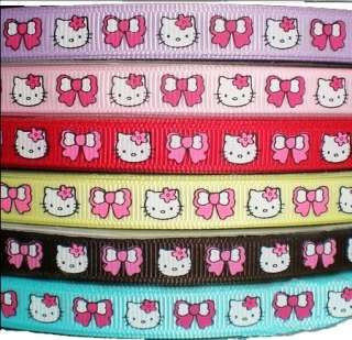 5YD 3/8 hello kitty pink bow daisy grosgrain ribbon