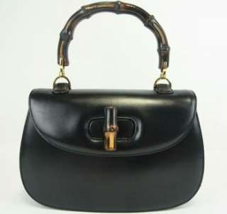 GUCCI BAMBOO HANDLE BLACK LEATHER EVENING HAND BAG PURSE MADE IN ITALY