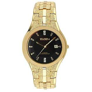 Mens Black Dial Round Case Gold Tone Watch  Elgin Jewelry Watches Mens