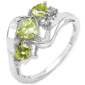 00 Carat Genuine Peridot & White Topaz Sterling Silver Ring Jewelry