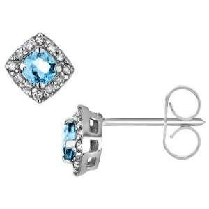 Blue Topaz Earrings with Diamonds 1.0 Carat (ctw) in 10K