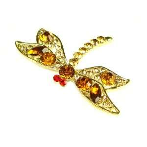 Yellow Topaz Austrian Rhinestone Dragonfly Gold Tone Brooch Pin
