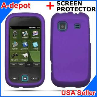 M380 Sprint Purple Rubberized Hard Case Cover +Screen Protector