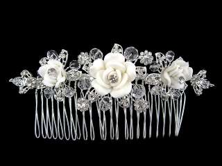 Wide White Flower Wedding Bridal Flower Girl Crystal Hair comb