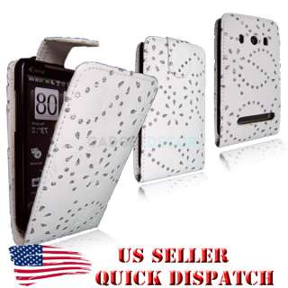 FOR HTC EVO 4G WHITE FLIP OPEN LEATHER BLING DIAMOND JEWEL CASE COVER