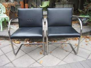 PAIR OF MID CENTURY MODERN KNOLL BLACK LEATHER BRNO TUBULAR CHROME