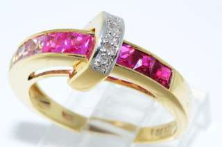 05CT PRINCESS CUT PINK SAPPHIRE,RUBY & DIAMOND RING SIZE 7