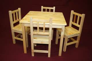 Kids Table and Chair Set   5 Pcs (Solid Wood in Natural)