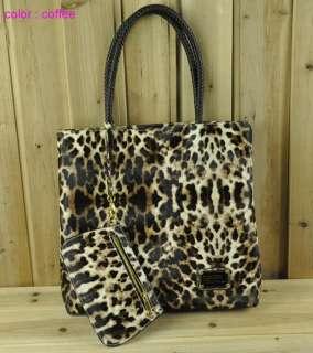 Womens PU leather Leopard print Oversized lehandbag Purse Shoulder
