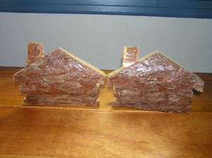 Rustic Log Cabin Pine Wood Bark Book Ends Bookends