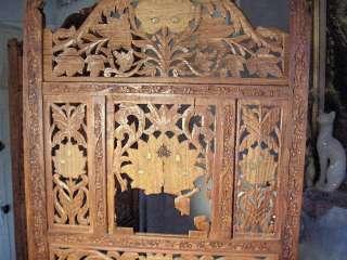 Vintage Hand Carved Teak Wood Screen Room Divider